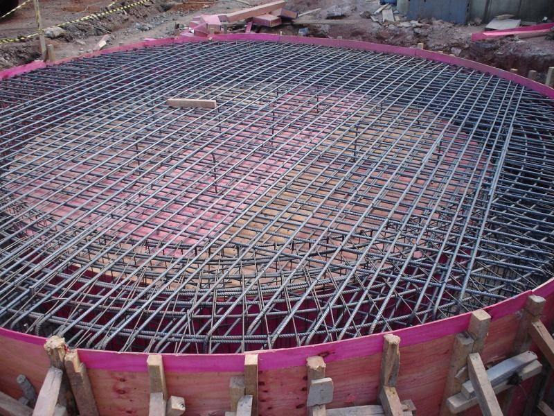 Base para apoio de reservatório de concreto